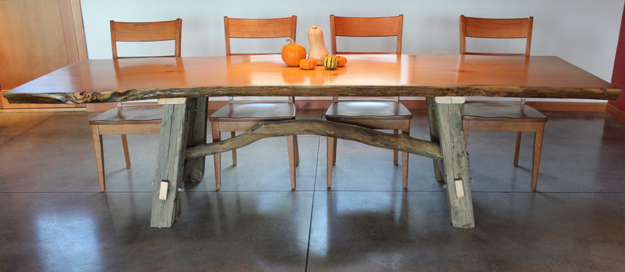 OUR WORK : Custom Crafted Dining Table Live Edge Douglas Fir Top with Raw Oak and Local Pine Branch BaseMontana from liveedgefurniture.com size 900 x 392 jpeg 269kB
