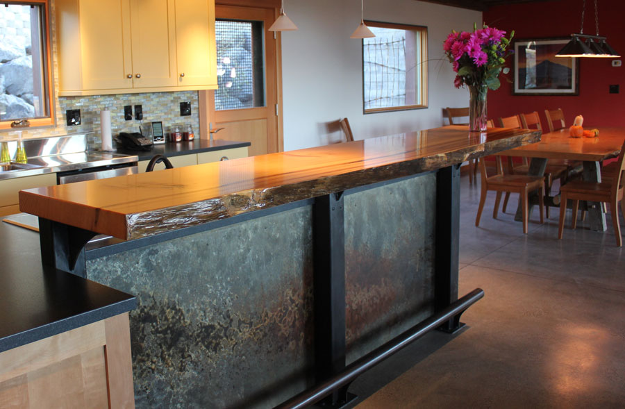 ... Custom Crafted Island Bar Top, Douglas Fir With ...