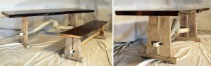 Custom Crafted Dining Table with Bench, Stained Live Edge Fir Top with Hewn Oak Tressle Base and Lodge Pole Pine Crook_Montana.jpg