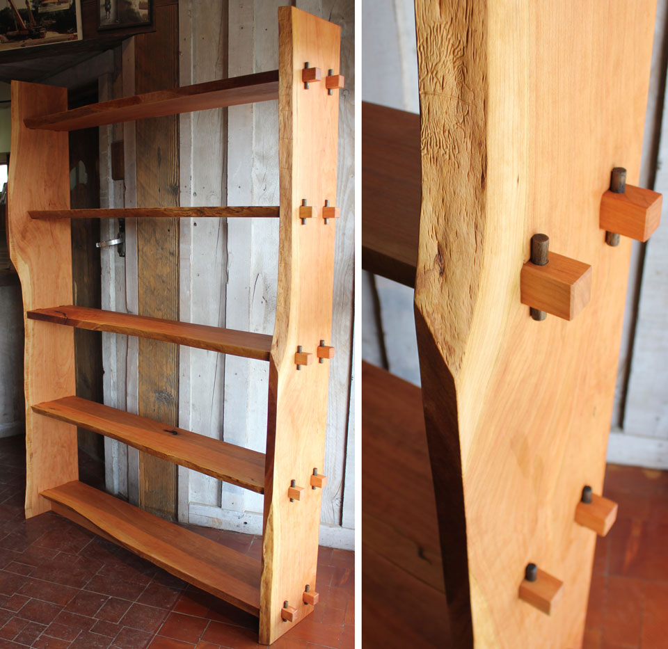 Custom Crafted Live Edge Bookshelf Cherry And Oak Montana Jpg
